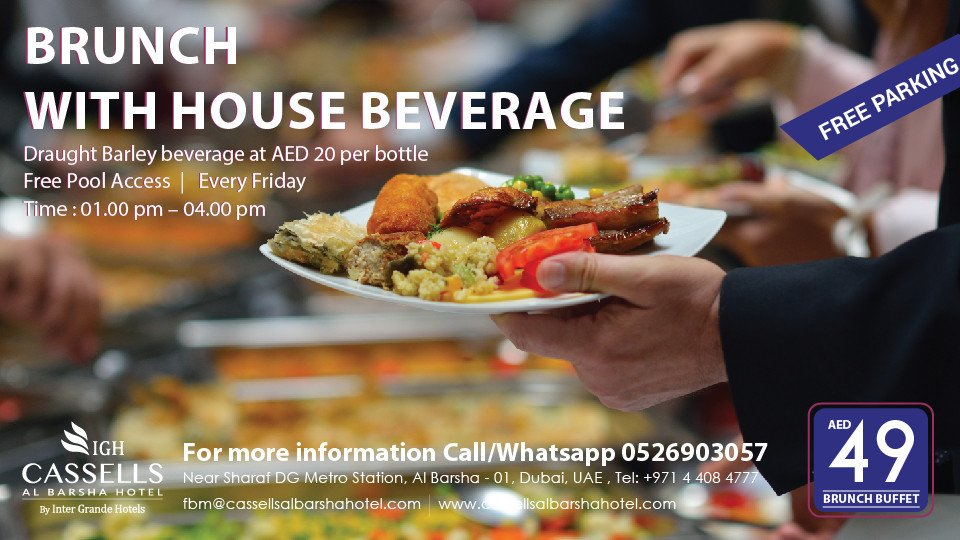 Friday Brunch with Pool access,Cassells Al Barsha Hotel,Brunches