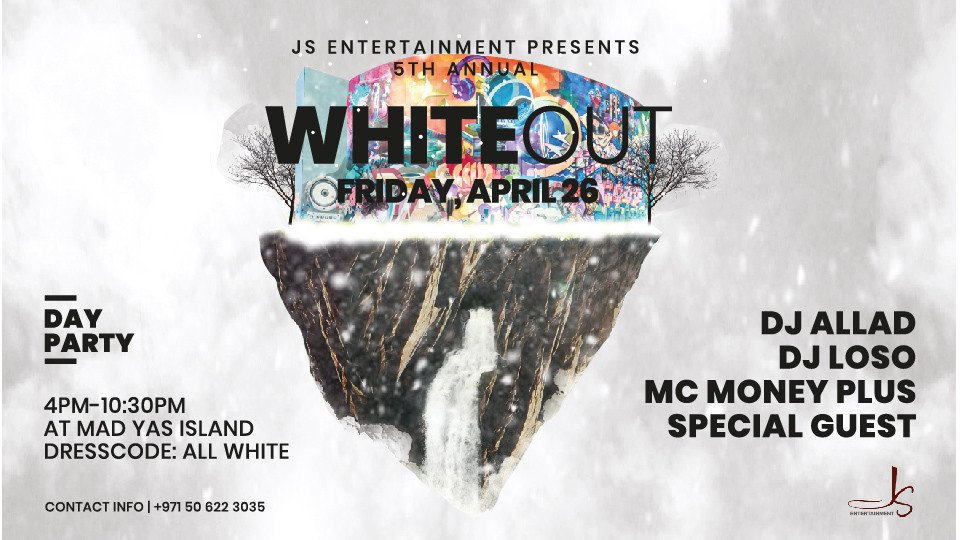 White Out Day Party - 5th Annual,MAD on Yas Island,EDM